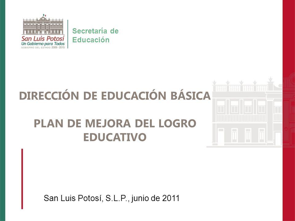 Título Presentación Secretaría de Educación DIRECCIÓN DE EDUCACIÓN BÁSICA PLAN DE MEJORA DEL LOGRO EDUCATIVO San Luis Potosí, S.L.P., junio de 2011