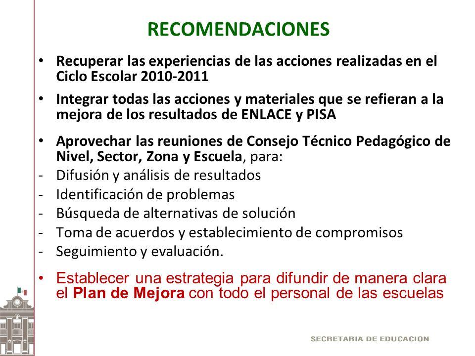 RECOMENDACIONES Recuperar las experiencias de las acciones realizadas en el Ciclo Escolar 2010-2011 Integrar todas las acciones y materiales que se re