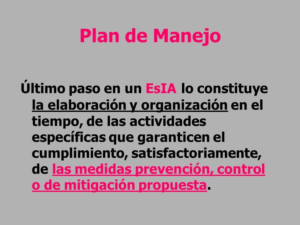 Plan de Manejo Último paso en un EsIA lo constituye la elaboración y organización en el tiempo, de las actividades específicas que garanticen el cumpl