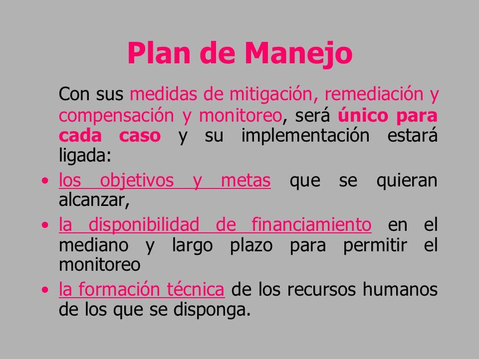 Plan de Manejo Con sus medidas de mitigación, remediación y compensación y monitoreo, será único para cada caso y su implementación estará ligada: los