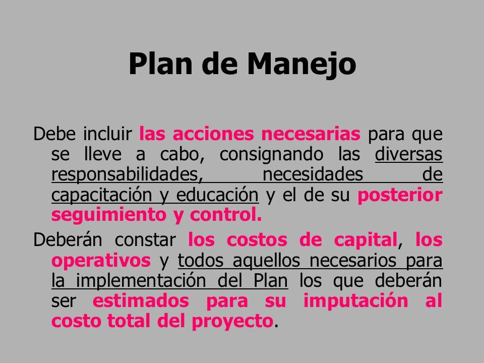 Plan de Manejo Debe incluir las acciones necesarias para que se lleve a cabo, consignando las diversas responsabilidades, necesidades de capacitación