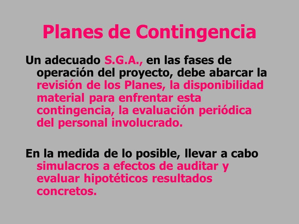 Planes de Contingencia Un adecuado S.G.A., en las fases de operación del proyecto, debe abarcar la revisión de los Planes, la disponibilidad material
