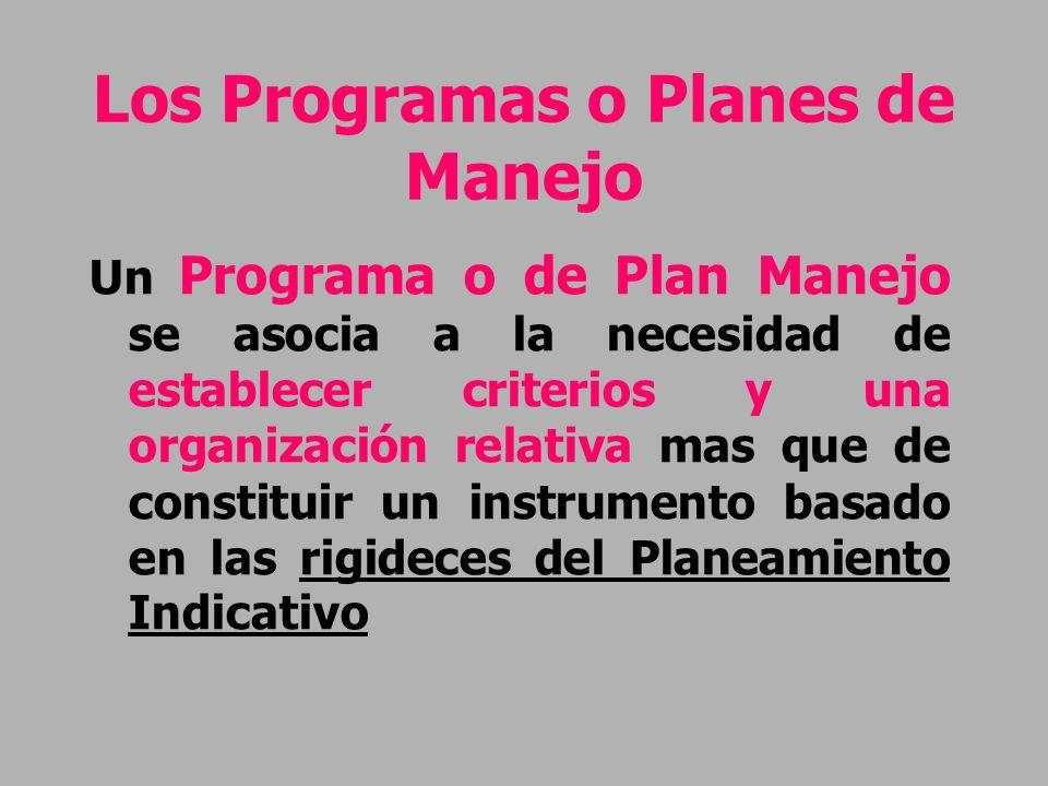 Los Programas o Planes de Manejo Un Programa o de Plan Manejo se asocia a la necesidad de establecer criterios y una organización relativa mas que de