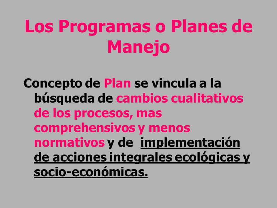 Los Programas o Planes de Manejo Concepto de Plan se vincula a la búsqueda de cambios cualitativos de los procesos, mas comprehensivos y menos normati