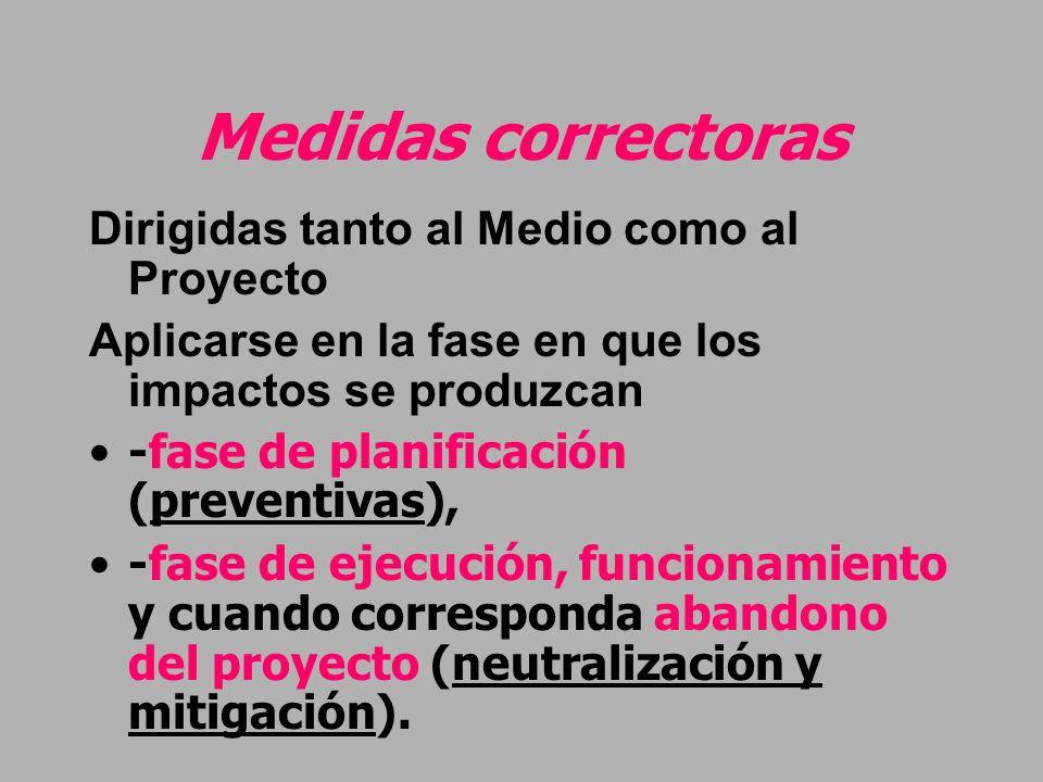 Medidas correctoras Dirigidas tanto al Medio como al Proyecto Aplicarse en la fase en que los impactos se produzcan -fase de planificación (preventiva