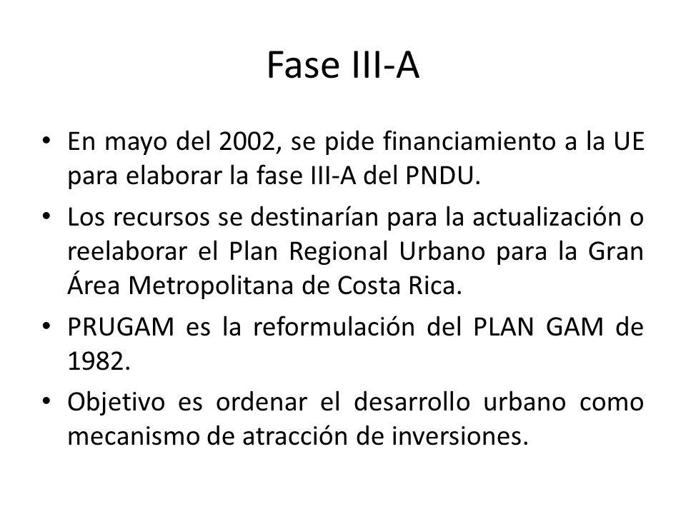 Fase III-A En mayo del 2002, se pide financiamiento a la UE para elaborar la fase III-A del PNDU.