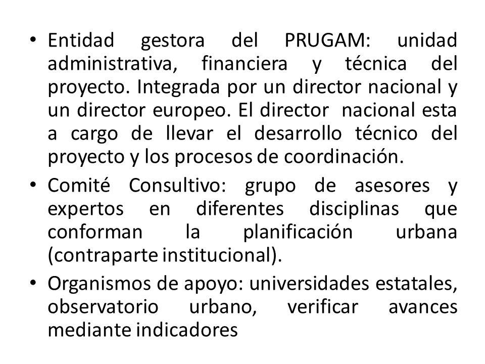 Entidad gestora del PRUGAM: unidad administrativa, financiera y técnica del proyecto.