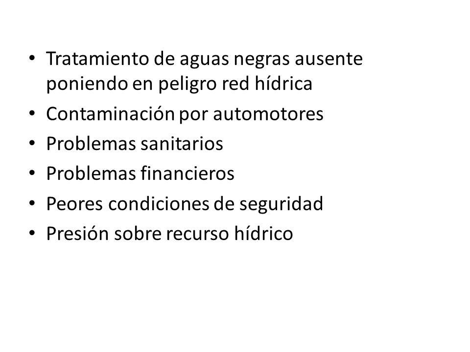 Tratamiento de aguas negras ausente poniendo en peligro red hídrica Contaminación por automotores Problemas sanitarios Problemas financieros Peores condiciones de seguridad Presión sobre recurso hídrico
