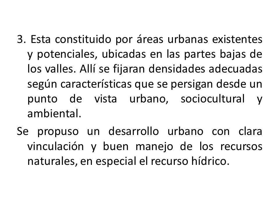 3. Esta constituido por áreas urbanas existentes y potenciales, ubicadas en las partes bajas de los valles. Allí se fijaran densidades adecuadas según