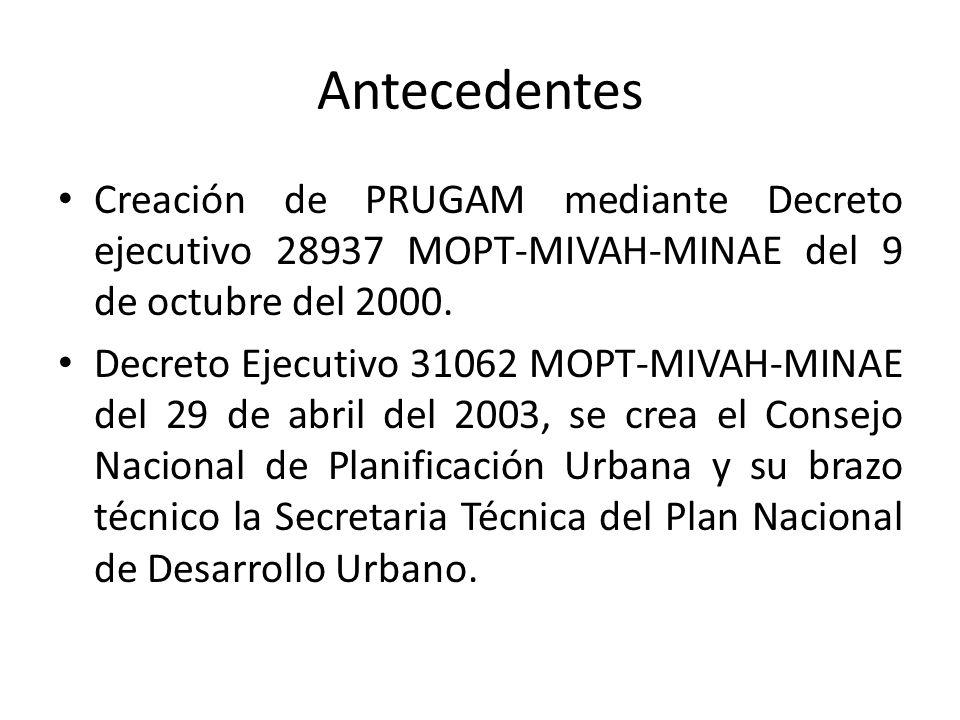 Antecedentes Creación de PRUGAM mediante Decreto ejecutivo 28937 MOPT-MIVAH-MINAE del 9 de octubre del 2000.