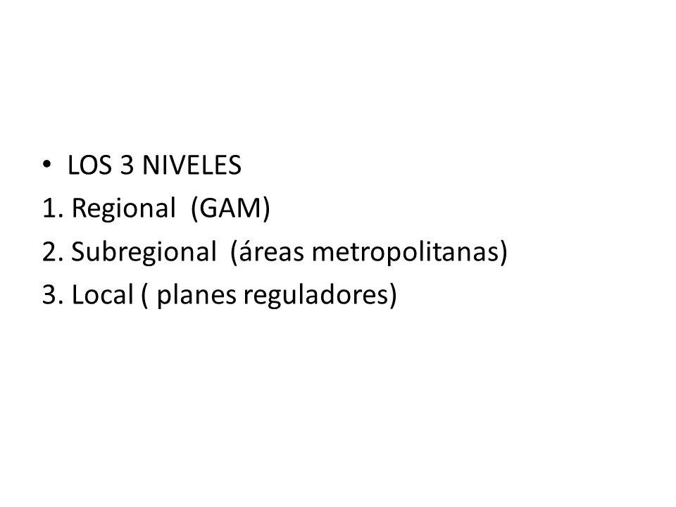 LOS 3 NIVELES 1.Regional (GAM) 2. Subregional (áreas metropolitanas) 3.