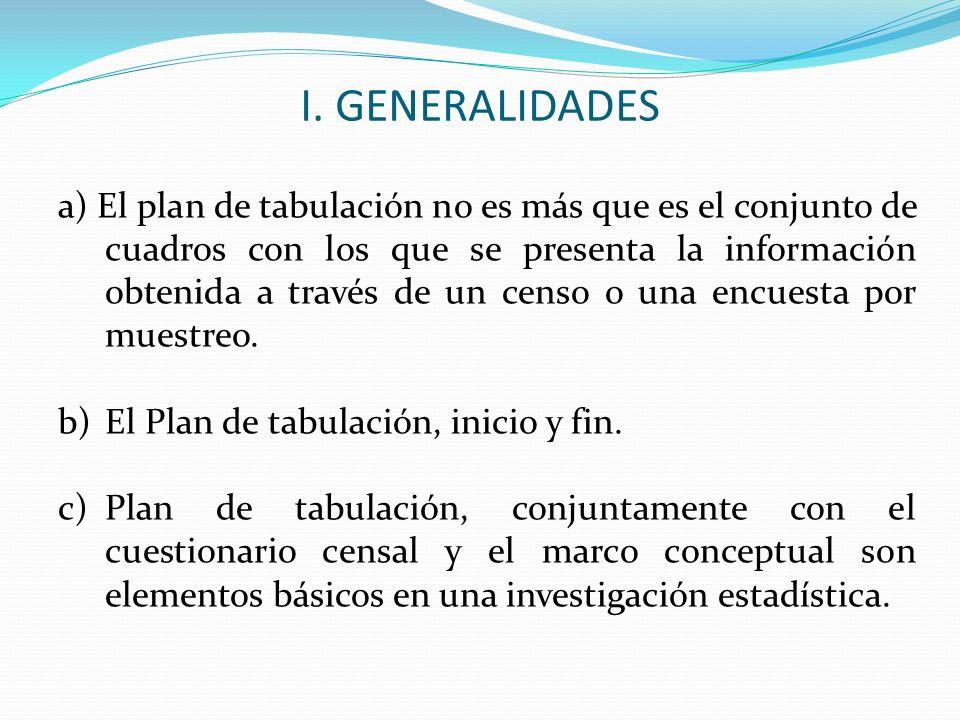 d) El plan de tabulación es el primer elemento que uno debe preparar en una investigación estadística, e) El plan de tabulación se elabora a partir de las variables que se han determinado en función a la finalidad y los objetivos que tiene la investigación estadística.