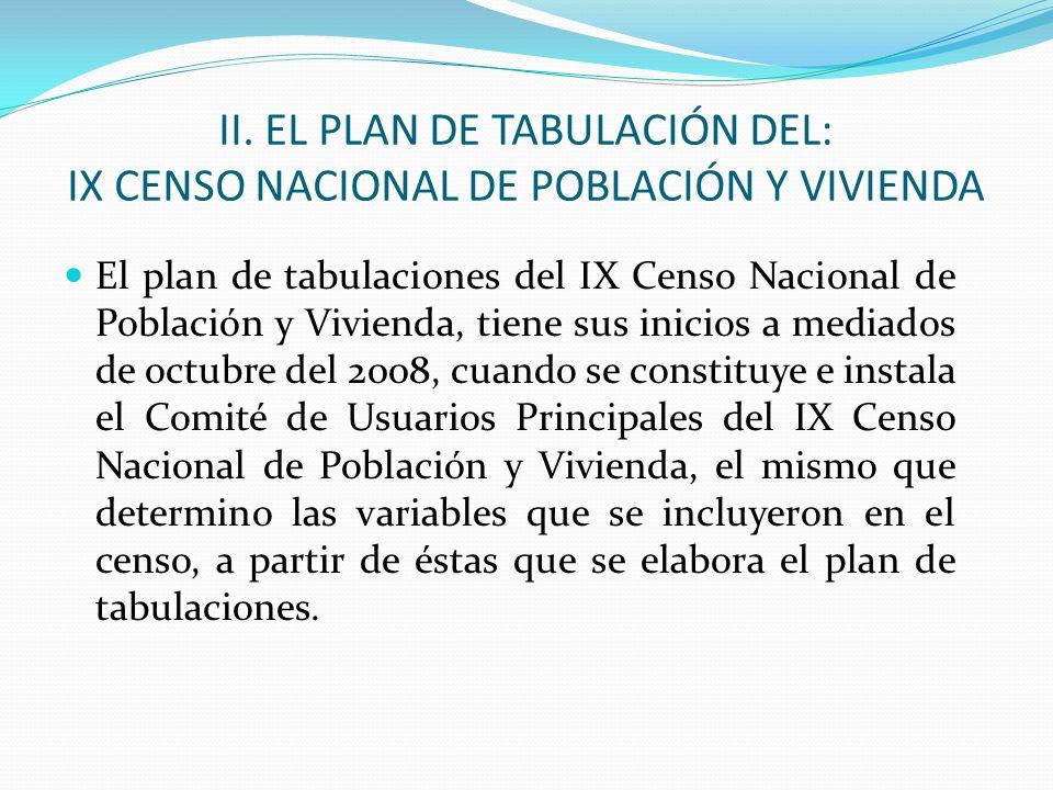 II. EL PLAN DE TABULACIÓN DEL: IX CENSO NACIONAL DE POBLACIÓN Y VIVIENDA El plan de tabulaciones del IX Censo Nacional de Población y Vivienda, tiene