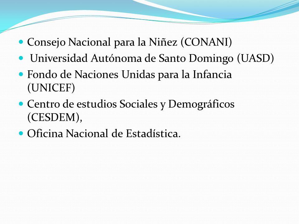 Consejo Nacional para la Niñez (CONANI) Universidad Autónoma de Santo Domingo (UASD) Fondo de Naciones Unidas para la Infancia (UNICEF) Centro de estu