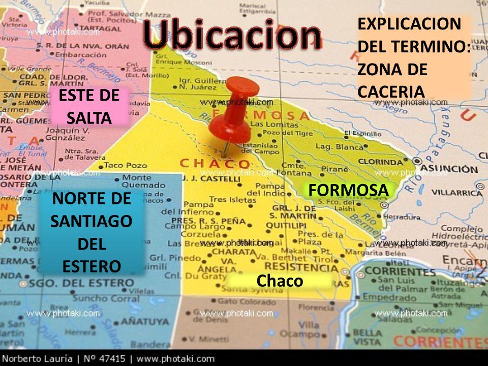 NORTE DE SANTIAGO DEL ESTERO NORTE DE SANTIAGO DEL ESTERO ESTE DE SALTA FORMOSA Chaco EXPLICACION DEL TERMINO: ZONA DE CACERIA