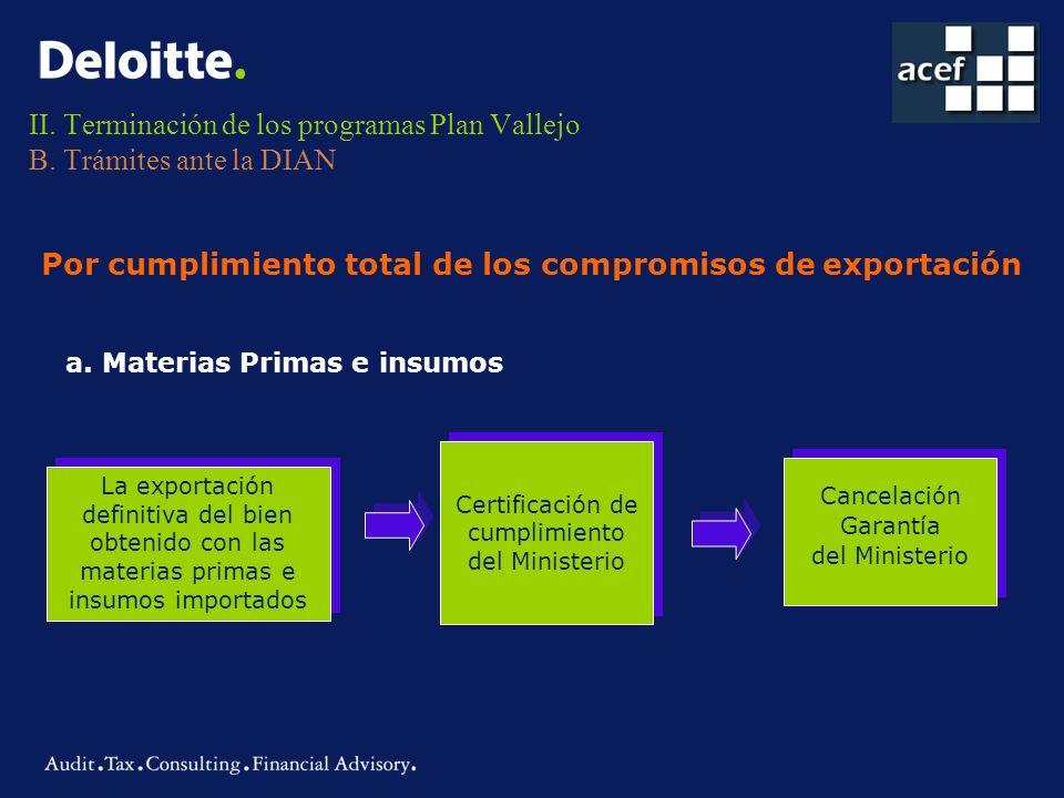 II. Terminación de los programas Plan Vallejo B. Trámites ante la DIAN La exportación definitiva del bien obtenido con las materias primas e insumos i