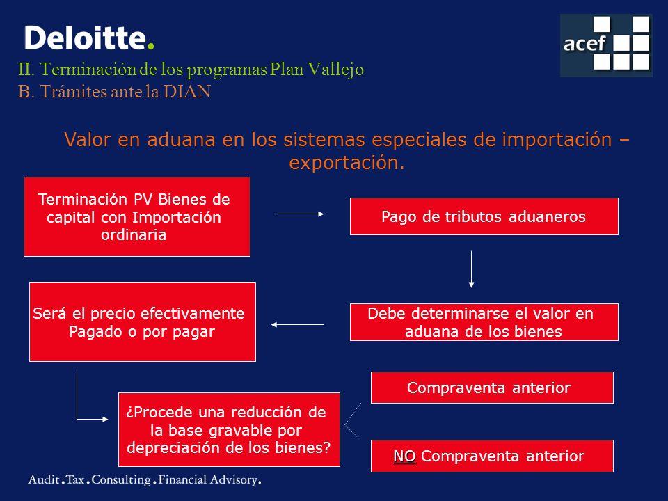 II. Terminación de los programas Plan Vallejo B. Trámites ante la DIAN Valor en aduana en los sistemas especiales de importación – exportación. Termin