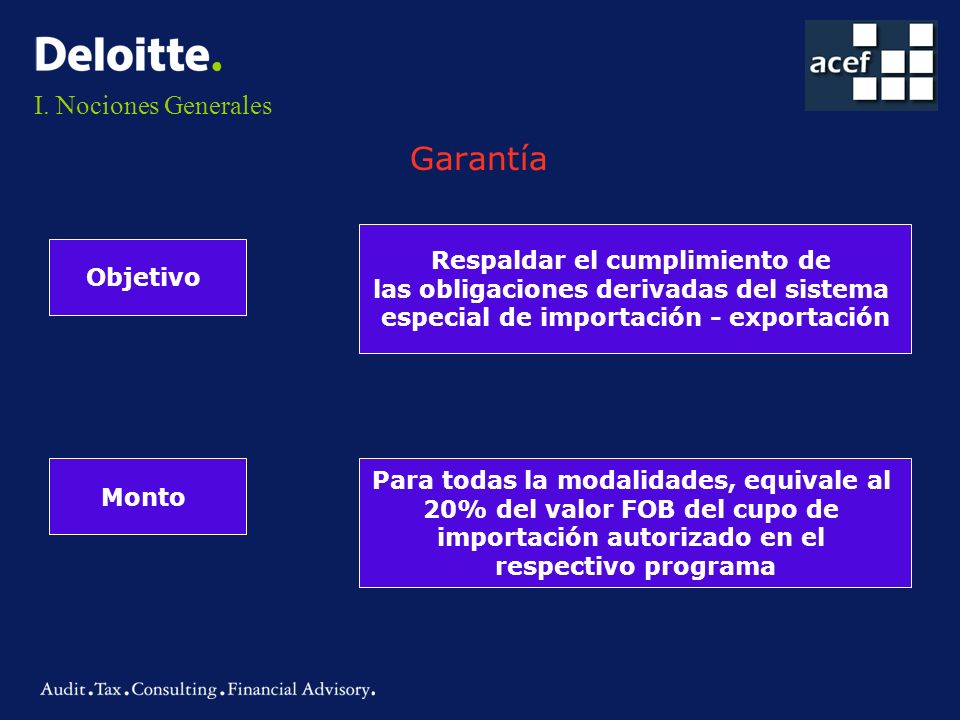 I. Nociones Generales Garantía Objetivo Respaldar el cumplimiento de las obligaciones derivadas del sistema especial de importación - exportación Mont