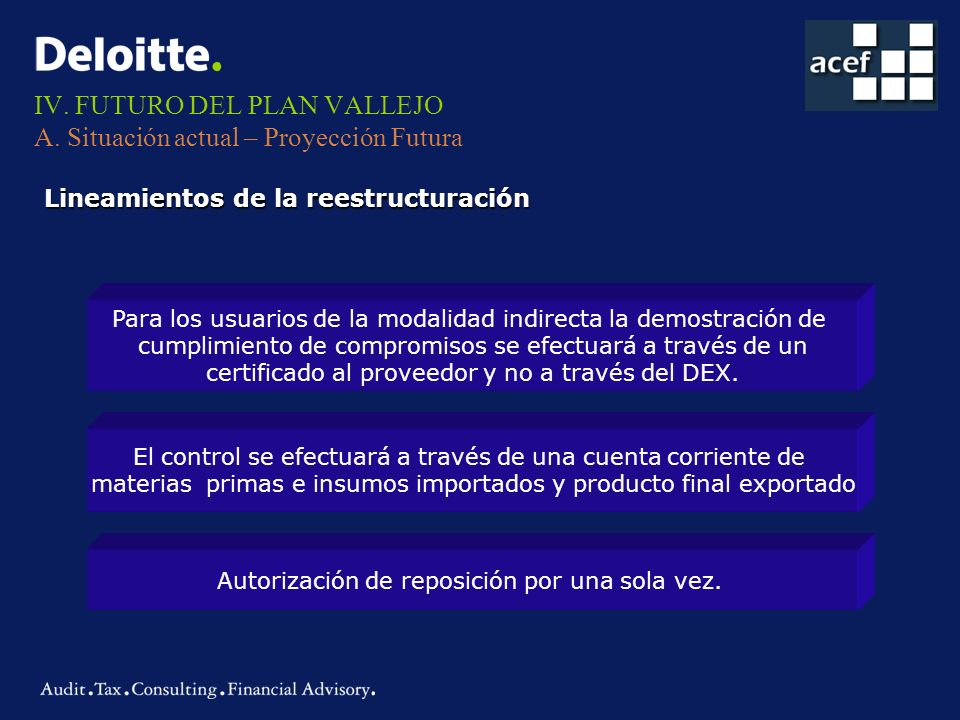 IV. FUTURO DEL PLAN VALLEJO A. Situación actual – Proyección Futura Lineamientos de la reestructuración Para los usuarios de la modalidad indirecta la