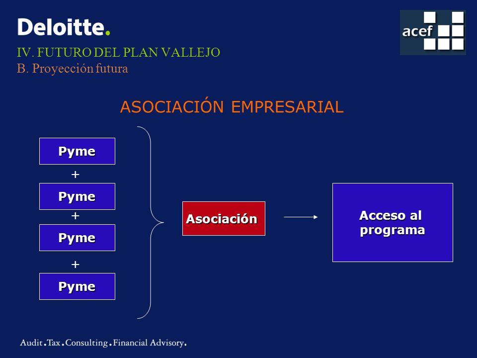 IV. FUTURO DEL PLAN VALLEJO B. Proyección futura ASOCIACIÓN EMPRESARIAL Pyme Pyme Pyme Pyme Asociación Acceso al programa + + +