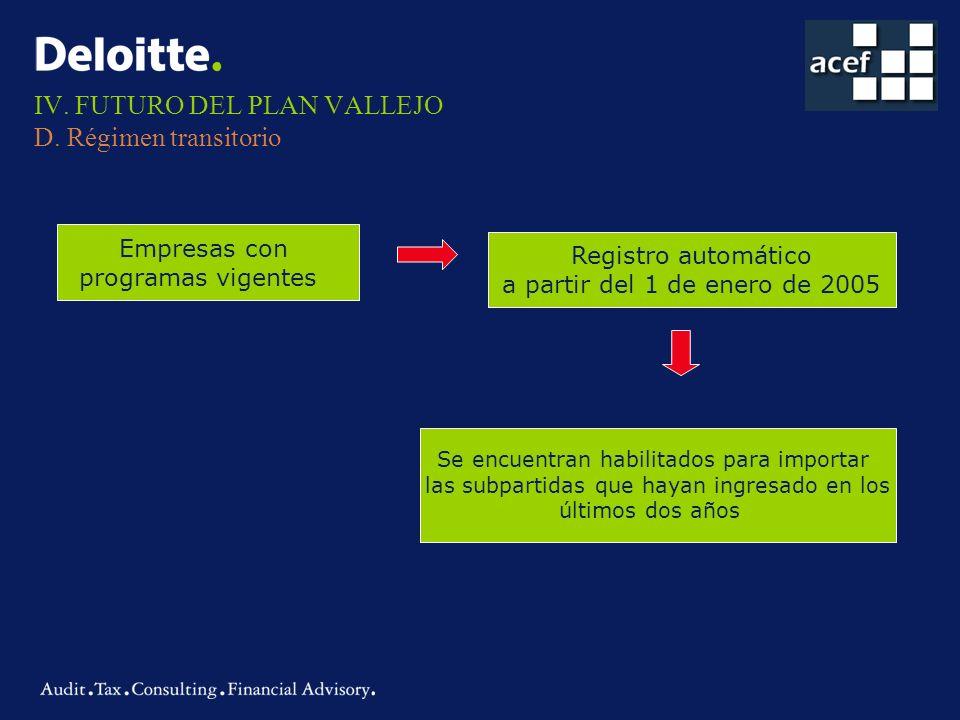 IV. FUTURO DEL PLAN VALLEJO D. Régimen transitorio Empresas con programas vigentes Registro automático a partir del 1 de enero de 2005 Se encuentran h