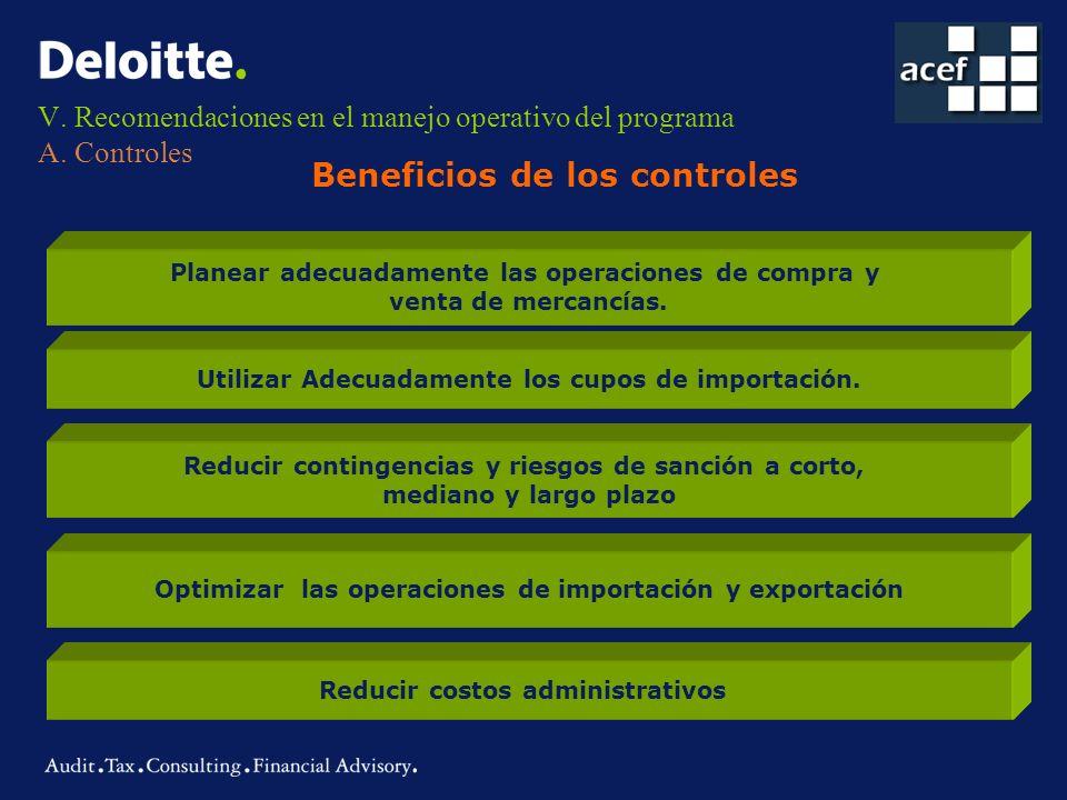 V. Recomendaciones en el manejo operativo del programa A. Controles Beneficios de los controles Planear adecuadamente las operaciones de compra y vent