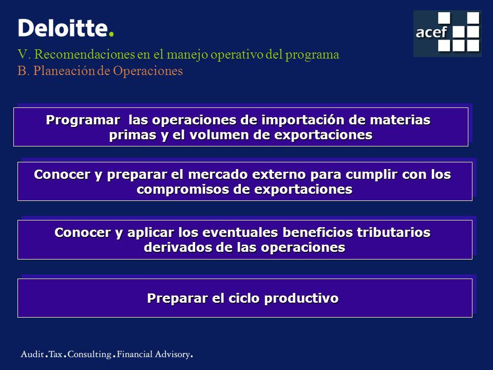 V. Recomendaciones en el manejo operativo del programa B. Planeación de Operaciones Programar las operaciones de importación de materias primas y el v