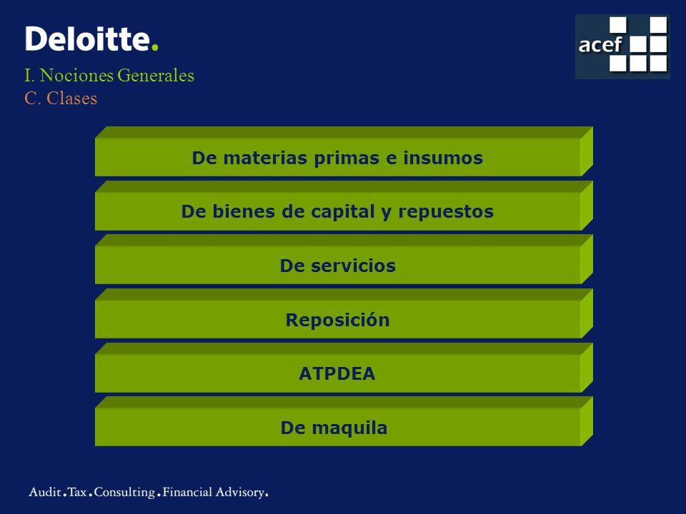 I. Nociones Generales C. Clases De materias primas e insumos De bienes de capital y repuestos De servicios Reposición ATPDEA De maquila