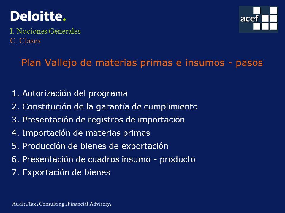 I. Nociones Generales C. Clases Plan Vallejo de materias primas e insumos - pasos 1. Autorización del programa 2. Constitución de la garantía de cumpl