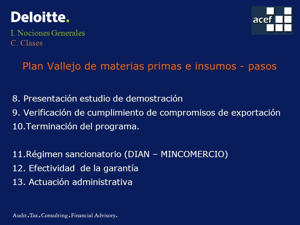 I. Nociones Generales C. Clases Plan Vallejo de materias primas e insumos - pasos 8. Presentación estudio de demostración 9. Verificación de cumplimie