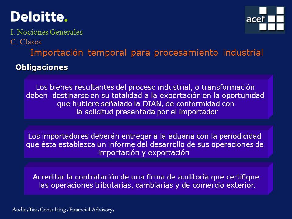 I. Nociones Generales C. Clases Importación temporal para procesamiento industrial Obligaciones Los bienes resultantes del proceso industrial, o trans