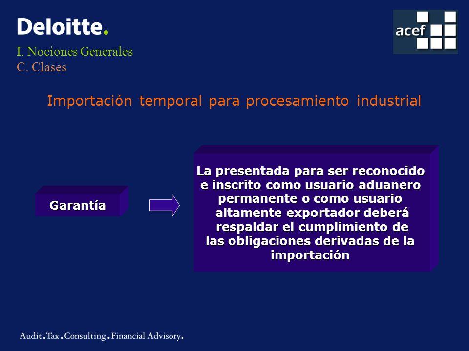 I. Nociones Generales C. Clases Importación temporal para procesamiento industrial Garantía La presentada para ser reconocido e inscrito como usuario