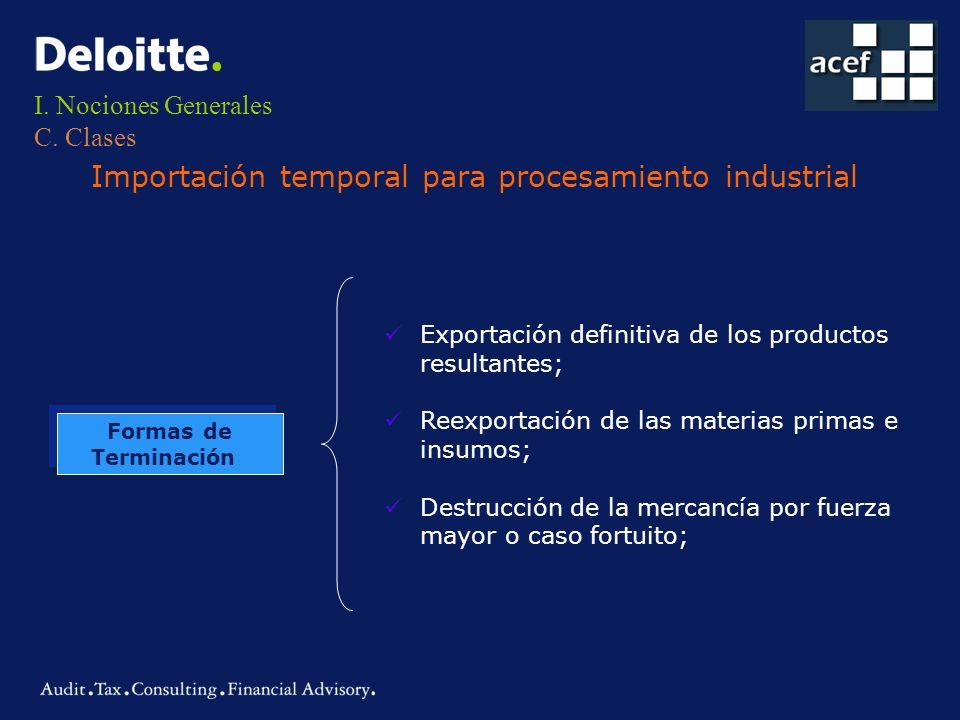 I. Nociones Generales C. Clases Importación temporal para procesamiento industrial Formas de Terminación Formas de Terminación Exportación definitiva