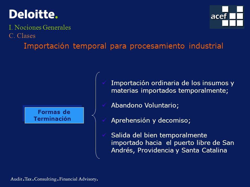 I. Nociones Generales C. Clases Importación temporal para procesamiento industrial Formas de Terminación Formas de Terminación Importación ordinaria d