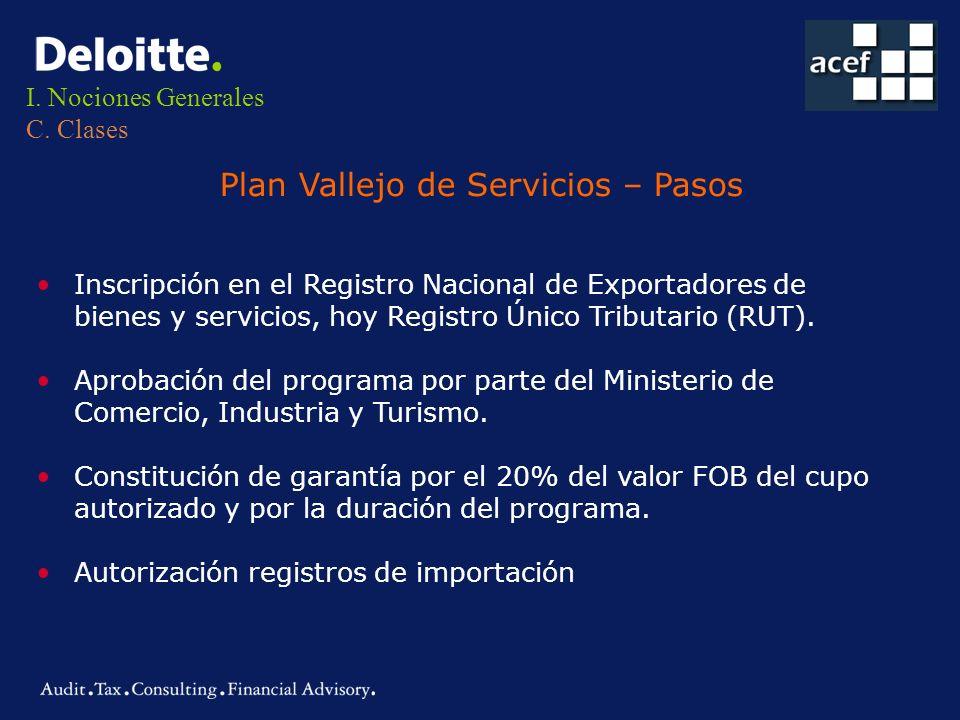 I. Nociones Generales C. Clases Plan Vallejo de Servicios – Pasos Inscripción en el Registro Nacional de Exportadores de bienes y servicios, hoy Regis