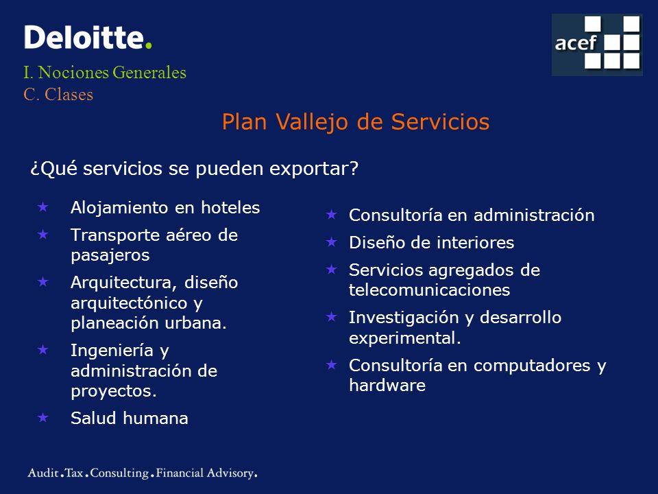 I. Nociones Generales C. Clases Plan Vallejo de Servicios ¿Qué servicios se pueden exportar? «Alojamiento en hoteles «Transporte aéreo de pasajeros «A