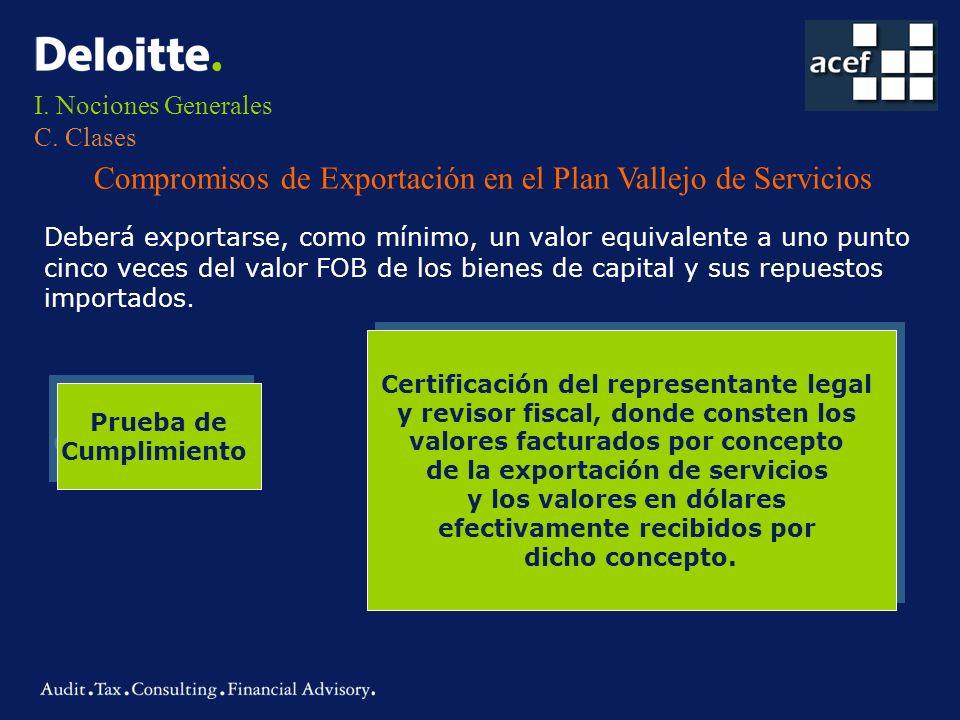 I. Nociones Generales C. Clases Compromisos de Exportación en el Plan Vallejo de Servicios Deberá exportarse, como mínimo, un valor equivalente a uno