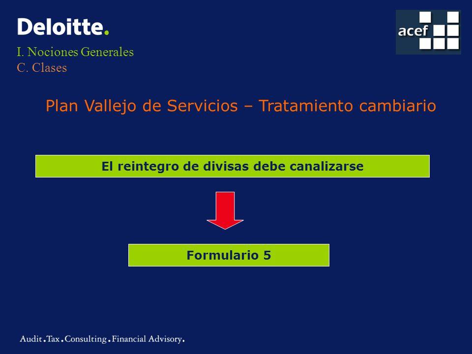 I. Nociones Generales C. Clases Plan Vallejo de Servicios – Tratamiento cambiario El reintegro de divisas debe canalizarse Formulario 5
