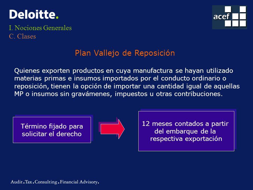 I. Nociones Generales C. Clases Plan Vallejo de Reposición Quienes exporten productos en cuya manufactura se hayan utilizado materias primas e insumos