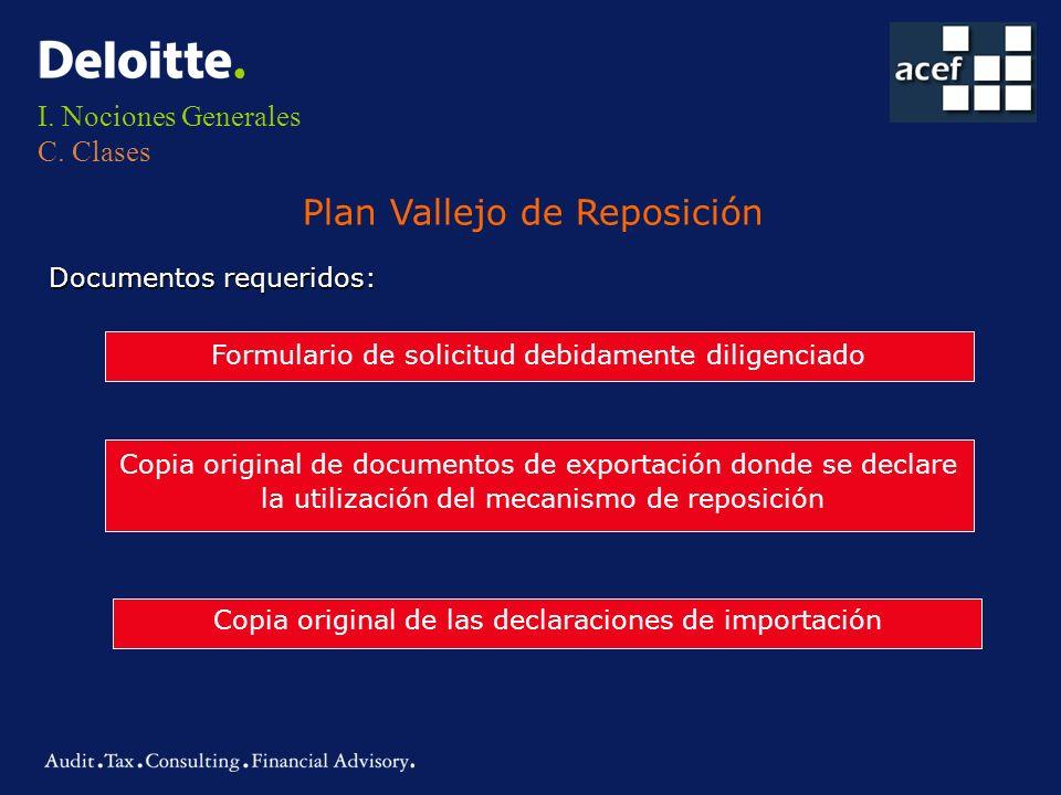 I. Nociones Generales C. Clases Plan Vallejo de Reposición Documentos requeridos: Formulario de solicitud debidamente diligenciado Copia original de d