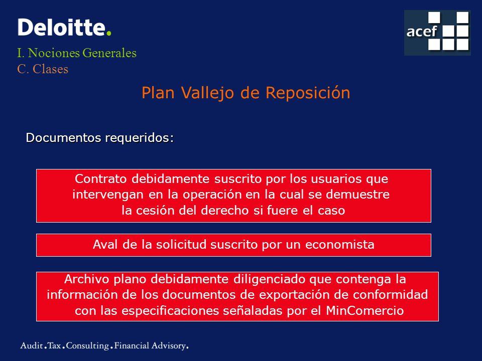 I. Nociones Generales C. Clases Plan Vallejo de Reposición Documentos requeridos: Contrato debidamente suscrito por los usuarios que intervengan en la