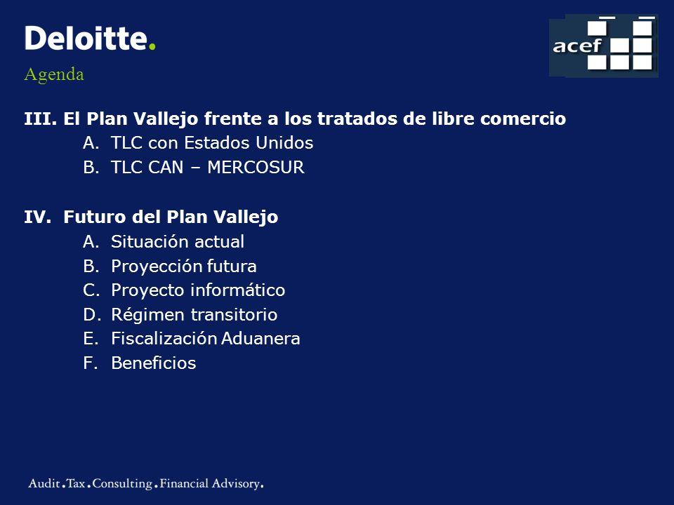 Agenda III.El Plan Vallejo frente a los tratados de libre comercio A.TLC con Estados Unidos B.TLC CAN – MERCOSUR IV.Futuro del Plan Vallejo A.Situació