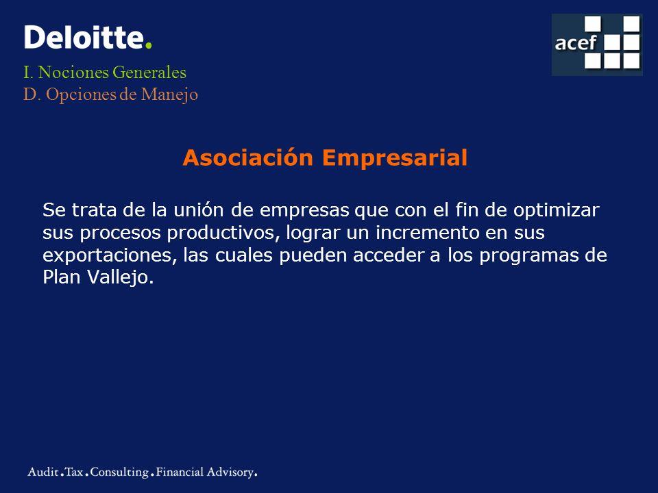 I. Nociones Generales D. Opciones de Manejo Se trata de la unión de empresas que con el fin de optimizar sus procesos productivos, lograr un increment