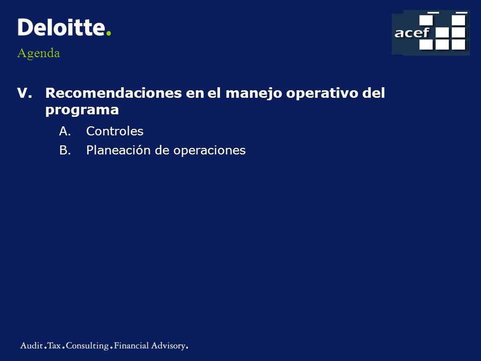 Agenda V.Recomendaciones en el manejo operativo del programa A.Controles B.Planeación de operaciones