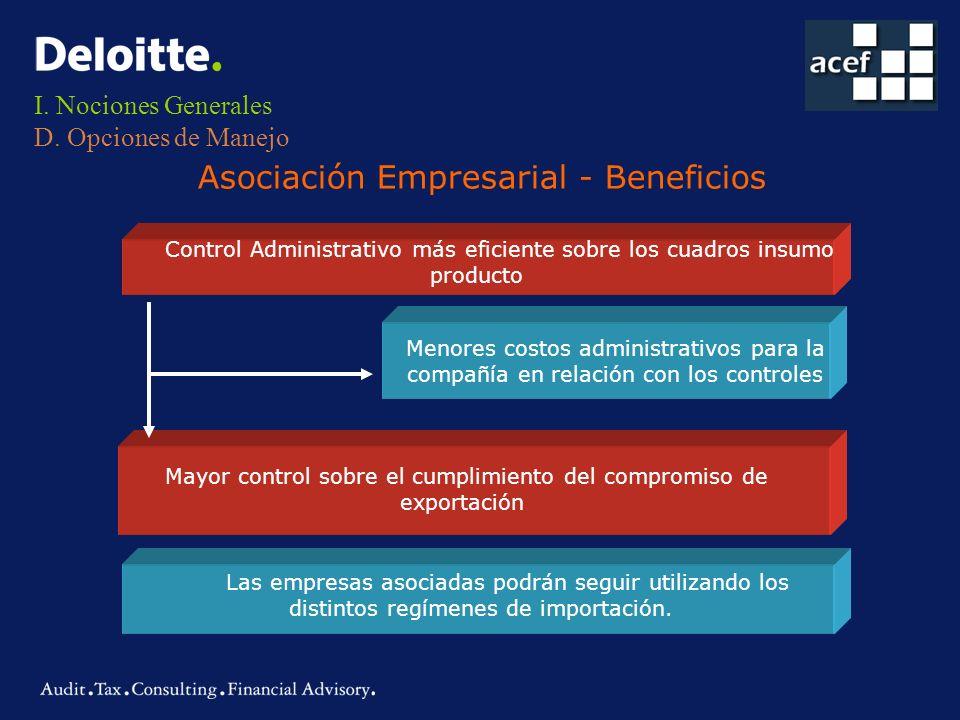 Menores costos administrativos para la compañía en relación con los controles I. Nociones Generales D. Opciones de Manejo Control Administrativo más e