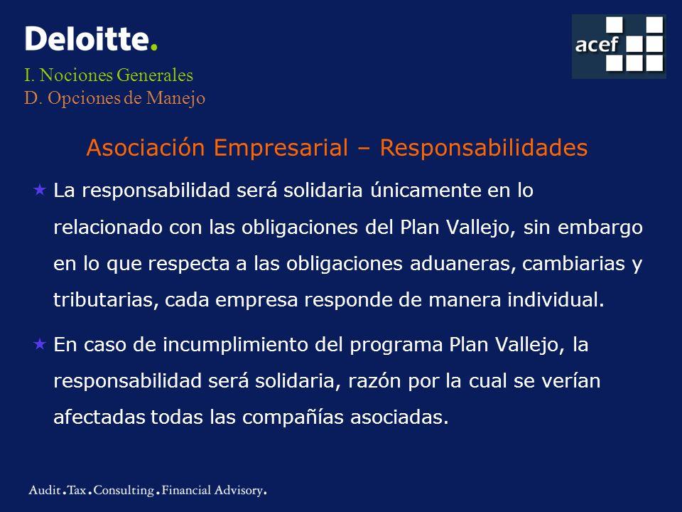 I. Nociones Generales D. Opciones de Manejo «La responsabilidad será solidaria únicamente en lo relacionado con las obligaciones del Plan Vallejo, sin