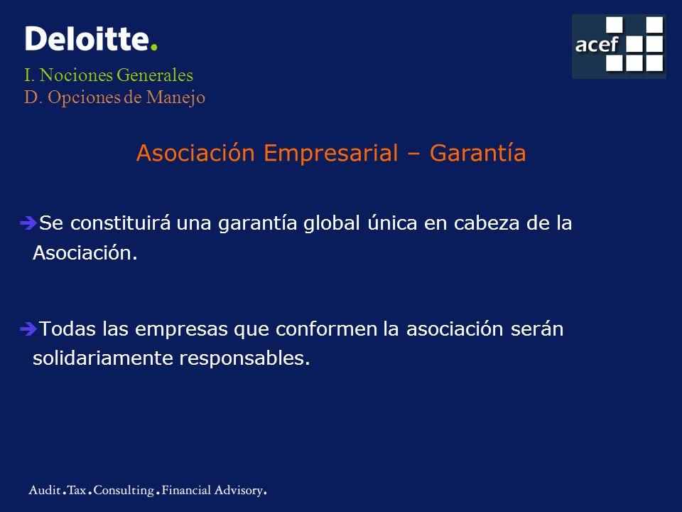 I. Nociones Generales D. Opciones de Manejo è Se constituirá una garantía global única en cabeza de la Asociación. è Todas las empresas que conformen