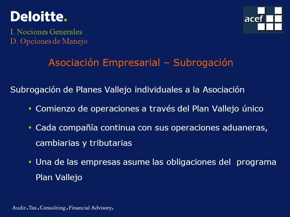 I. Nociones Generales D. Opciones de Manejo Subrogación de Planes Vallejo individuales a la Asociación ŸComienzo de operaciones a través del Plan Vall