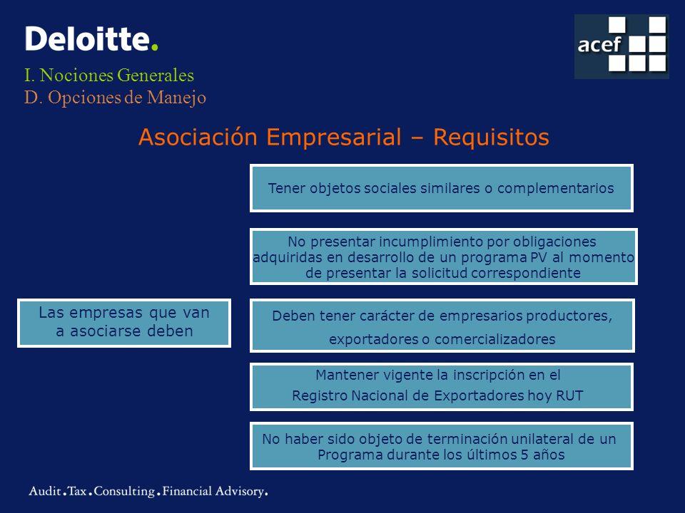 I. Nociones Generales D. Opciones de Manejo Las empresas que van a asociarse deben Tener objetos sociales similares o complementarios No presentar inc