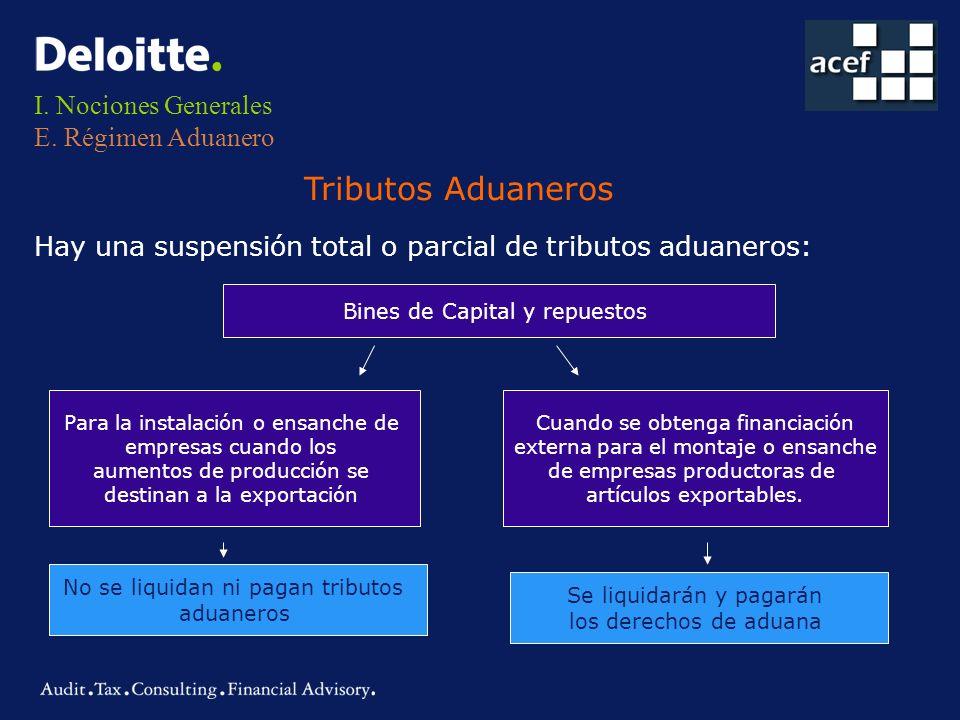 I. Nociones Generales E. Régimen Aduanero Hay una suspensión total o parcial de tributos aduaneros: Tributos Aduaneros Bines de Capital y repuestos Pa
